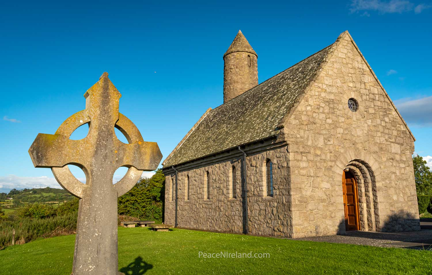 The St Patrick Memorial Church (Church of Ireland) at Saul, County Down. On this site Patrick built the first Christian Church in Ireland in 432AD.