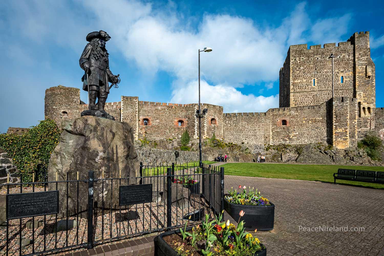 Sculpture of King William of Orange, on permanent display at Carrickfergus Castle in County Antrim